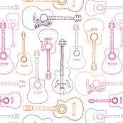 Rock music instrument guitar pattern pink orange girls