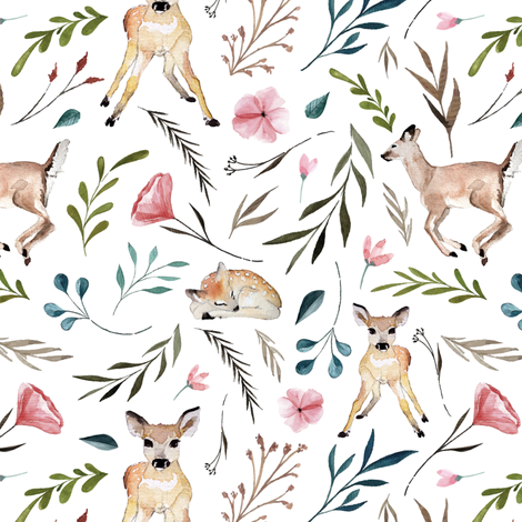 deer flowers and leaves (large) fabric by thekindredpines on Spoonflower - custom fabric