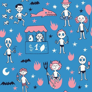 Little horror monsters summer experience in blue and pink