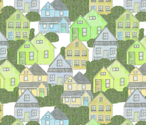 Houses (green) fabric by lydia_meiying on Spoonflower - custom fabric