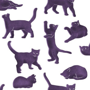 Large Scale Purple Block Printed Cats