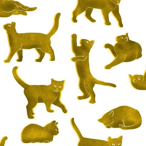 Large Scale Yellow Block Printed Cats