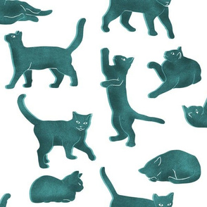 Large Scale Blue Block Printed Cats
