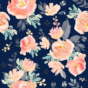 "21"" Coral Grey and Mint Florals Navy Background"