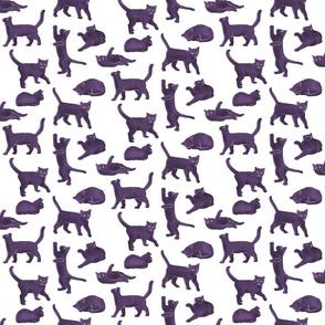 Small Scale Purple Block Printed Cats