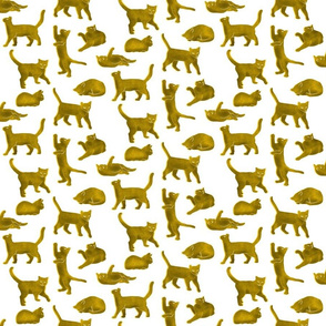 Yellow Block Printed Cats