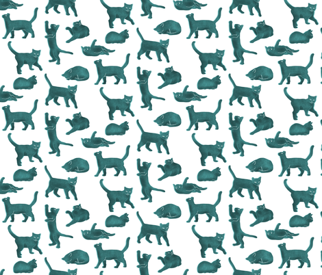 Small Scale Light Blue Block Printed Cats fabric by landpenguin on Spoonflower - custom fabric