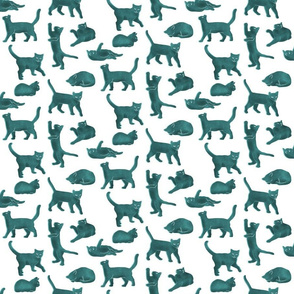 Small Scale Light Blue Block Printed Cats
