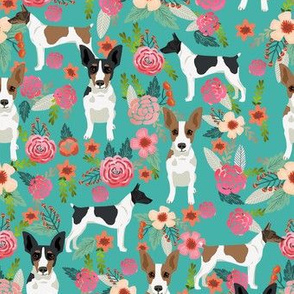 rat terrier floral dog breed pet fabric teal