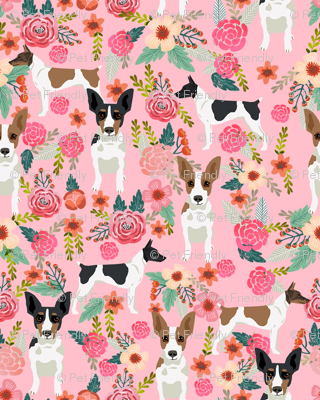 rat terrier floral dog breed pet fabric pink