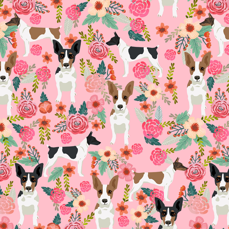 rat terrier floral dog breed pet fabric pink fabric by petfriendly on Spoonflower - custom fabric