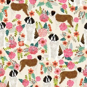 saint bernard floral dog breed pet fabric pink cream