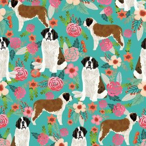 saint bernard floral dog breed pet fabric teal