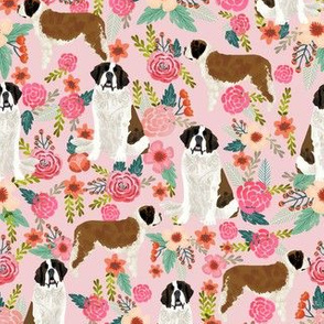 saint bernard floral dog breed pet fabric pink