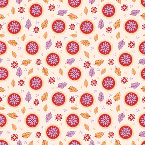 Summer Boho leaves and flowers in cream, orange, purple and yellow