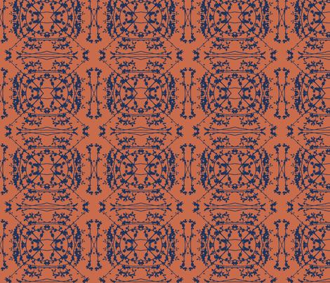China (Indigo on Brick) fabric by belovedsycamore on Spoonflower - custom fabric