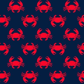 crabs (navy and red)  - nautical