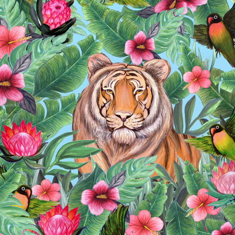 Tiger hiding in my jungle forest fabric by magentarosedesigns on Spoonflower - custom fabric