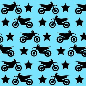 Dirt Bike and Star on Blue