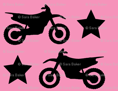 Dirt Bike and Star on Pink