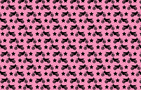 Dirt Bike and Star on Pink fabric by thepinkpinecone on Spoonflower - custom fabric