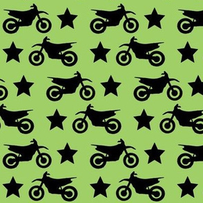 Dirt Bike and Star on Green