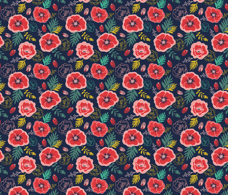 Wild and Free Poppy floral pattern with leaves fabric by esther_loopstra_illustration on Spoonflower - custom fabric
