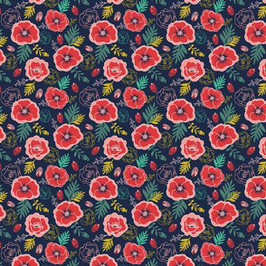Wild and Free Poppy floral pattern with leaves