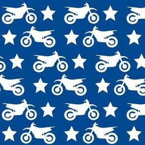 Dirt Bike and Star White on Blue
