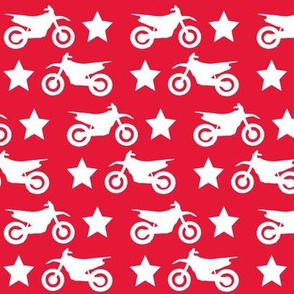 Dirt Bike and Star White on Red