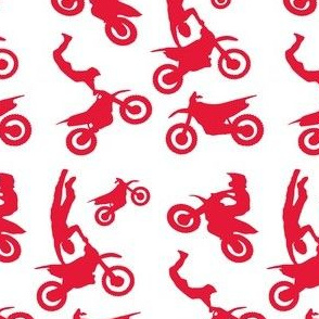 Motocross Rider Mix Red on White