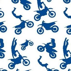 Motocross Rider Mix Blue on White