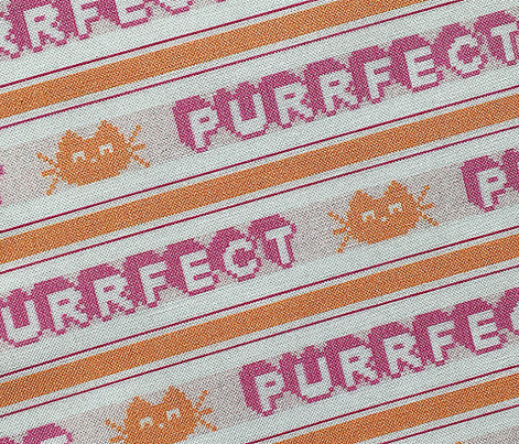 Purrfect*  || polyester jacquard stripes pixel vintage double knit 70s retro groovy tee t-shirt shirt children childrens typography vintage cat kitten