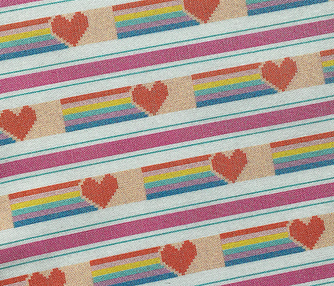 Rainbow Heart*  || polyester jacquard stripes pixel vintage double knit 70s retro groovy tee t-shirt shirt children childrens typography vintage hearts 80s