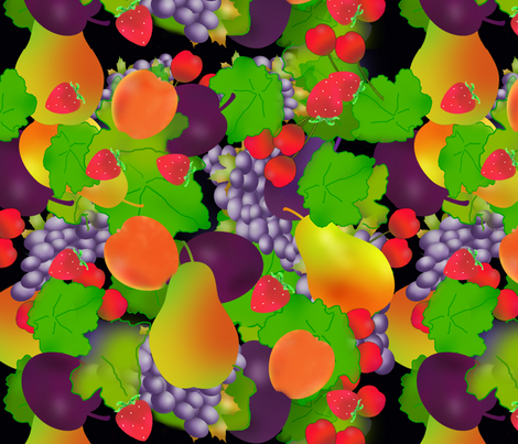 Fruit With Grapes fabric by della_vita on Spoonflower - custom fabric