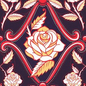 Americana roses floral damask