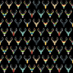 retro deer head black tiny