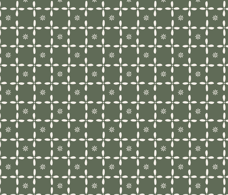 Flora Grid in Olive fabric by sewnhandmade on Spoonflower - custom fabric