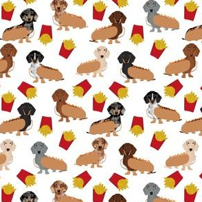Dachshund (smaller scale) dog breed pet fabric pattern french fries white