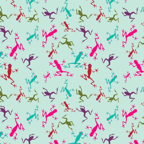 Frogs on Sea Green