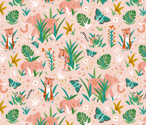 Endangered Wilderness - Pink fabric by heatherdutton on Spoonflower - custom fabric