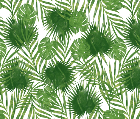 Tropical Palm Leaves - Jumbo fabric by jannasalak on Spoonflower - custom fabric