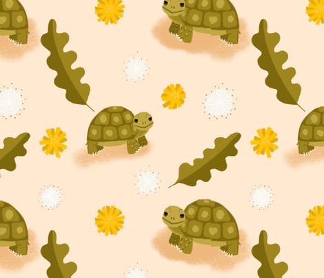 Tortoise in Dandiland fabric by kaseycauliflower on Spoonflower - custom fabric