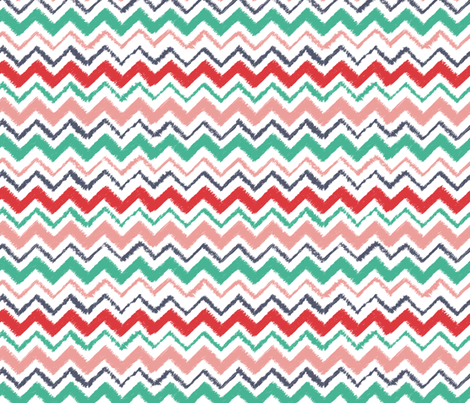 Wild and Free colorful chevron with texture in pink, teal, navy and pink fabric by esther_loopstra_illustration on Spoonflower - custom fabric