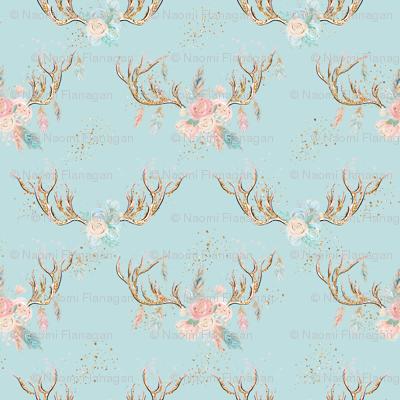 Sparkle Deer Antlers with Flowers