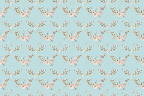 Sparkle Deer Antlers with Flowers fabric by comfybabyboutique on Spoonflower - custom fabric