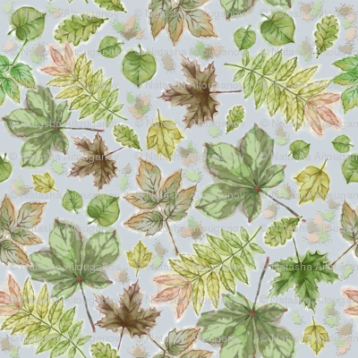 Withering Leaves Seamless Pattern on Gray Background.