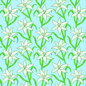 White Lilies on Blue