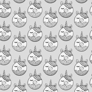 (small scale) unicorn donuts - monochrome  C18BS