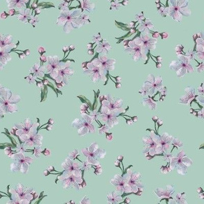 Sakura Inflorescence Pattern in Mint Tone